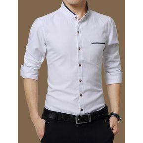 d4a08a3cb2 Camisas Hombre De Manga Larga De Negocios De Cuello De Pie-Blanco
