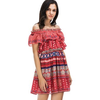 replicas 60% de liquidación mejor venta ZAFUL Vestido Corto sin Hombros con Estampado-Multicolor