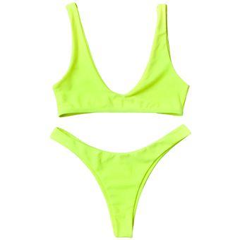 De Con Tiro Altoamarillo Traje Escote U Bikini En yvmP8nwON0