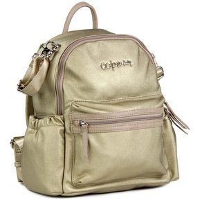 3143306725c Bolso Pañalera Cloe tipo Backpack Metalica - Dorado
