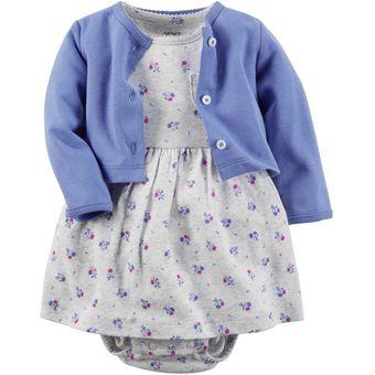 080b75f238 Carter´s - Set De Vestido De Algodón Y Cardigan Para Bebé Niña - Azul