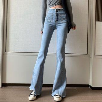Pantalones Vaqueros Azules Para Mujer Vaqueros Holgados De Cintura Alta Vintage De Pierna Ancha Vaqueros De Mujer De Estilo Coreano Faciles De Combinar Pantalones Simples De Longitud Completa Color 4 Linio Mexico