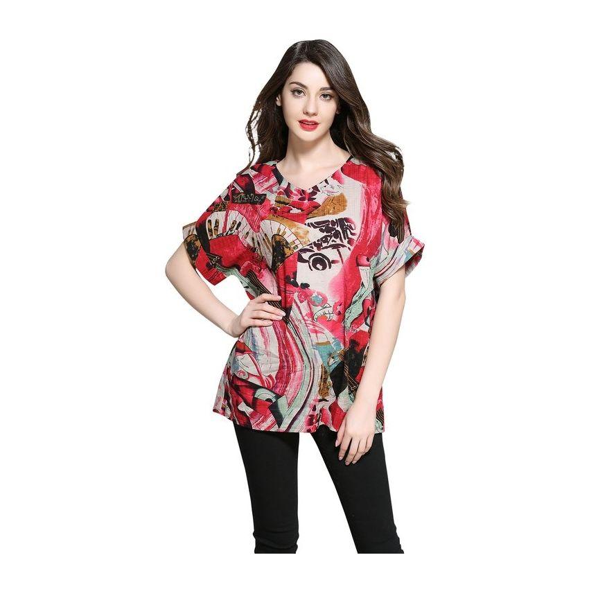 De Moda Impresas Mujer Camisetas Floral Rojo Tops Algodón Verano Diseño  qSfx5dwS e480ffeb94d
