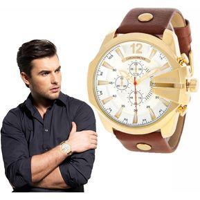 Correa Cuero Reloj Hombre CURREN Reloj Cuarzo Casual(Oro Blanco) c8470d9827ed