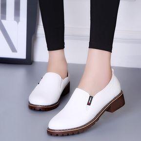 Zapatos Planos PU Con Cordones Y Punta Redonda Zapatos Oxford Mujer b37b19f408ad