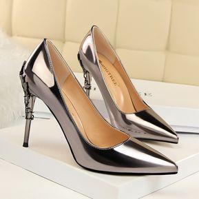 fdcc30fc Zapatos de tacón de metal sexy de moda para mujer Zapatos de tacón alto de  cuero