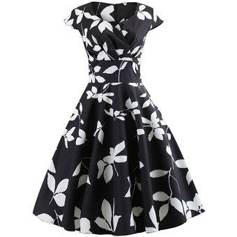 Vestido coctel negro y blanco