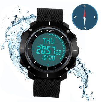 f8da9a7af8be Impermeable Hombre Deportivos Compás Relojes Skmei Reloj Digital LED Para  Montanismo (Negro)