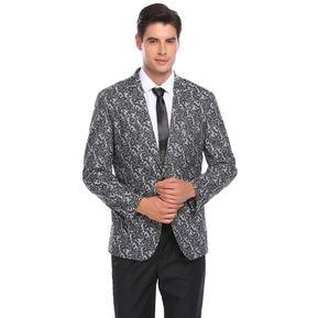 03c493bfa54eb COOFANDY Traje De Suit Blazer Lapela Floral Ajustado Dinner Party Yucheer Para  Hombre-Gris