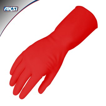 primer nivel diseño hábil diseño de moda Guantes de latex Aksi para limpieza grandes color rojo