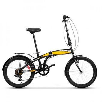 Bicicleta Topmega Plegable Folding R20 Negro y Amarillo