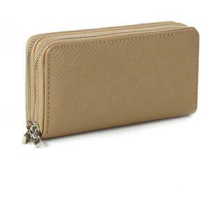 Billetera Cloe minimalista con material embozado - cafe bc063707fe5a