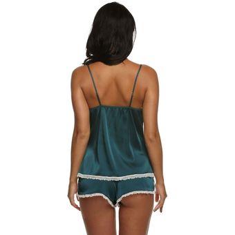 7d4bd69f1a Ekouaer Pijama De Punto Satén Conjunto De Tops Y Pantalones Cortos Para  Mujer - Verde