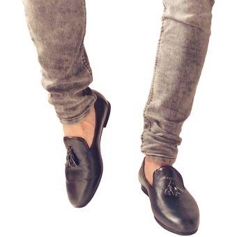 suave y ligero baratas para descuento elige lo último Zapatos Mocasines Para Hombre Romano OutFit Negro