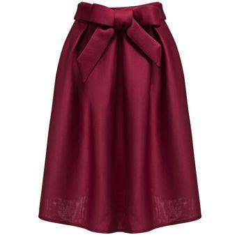 38fe18983 Estilo Retro De Alta Wiast Bowknot Pure Color Una Línea De Bola Del Vestido  De La Falda De Las Mujeres Del Vino Rojo Tamaño: S