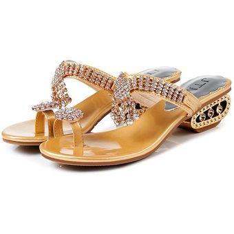 71f88469dcd Verano zapatillas mujer sexy Rhinestones sandalias zapatos horadan las  cuñas Oro