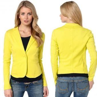 Chaqueta Casual V Compra Blazer Ropa Para Cuello Amarillo Mujer PRCCqfw