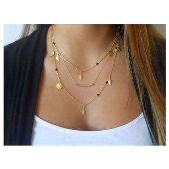 e76c6f2921cb Agotado Collar Harmonie Accesorios Tres Cadenas Dijes Hojas Dorado