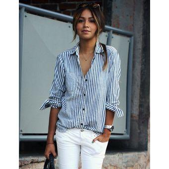 Rayas Elegante Azul Para Blanco Básica Y Camiseta Blusa Mujer Rebajada Casual 1wqUqpI