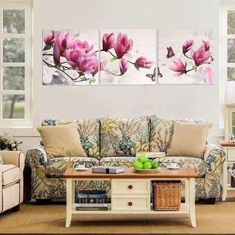 Compra cuadro decorativo 3 piezas sin marco de magnolia for Cuadros modernos para comedor diario