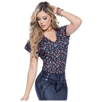 ba1d4970c264 Blusa Adulto Femenino Marketing Personal 65157 Azul Estampado