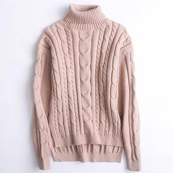 3f4b539186a85 Compra Suéter Para Mujer Con El Cuello Alto De Estilo Holgado - Rosa ...
