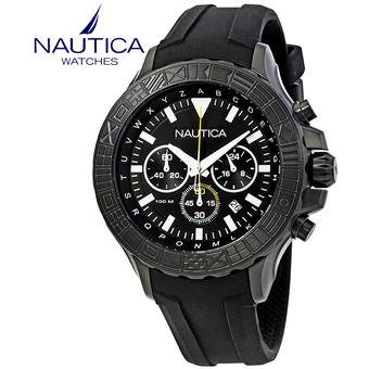 Reloj Nautica NST 1000 NAD20015G Cronometro Correa De Silicona - Negro 7e33bb07296b