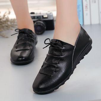 004a7ac8e78 Zapatos Planos De Los Zapatos De Cuero De La PU Con Cordones Para Mujer
