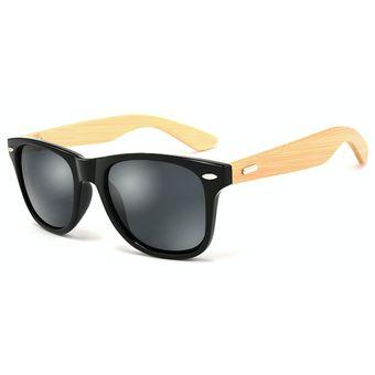 16a5c21359 Compra Lentes Gafas Sol Madera Bambu HDCRAFTER 1501 Negro Gris ...