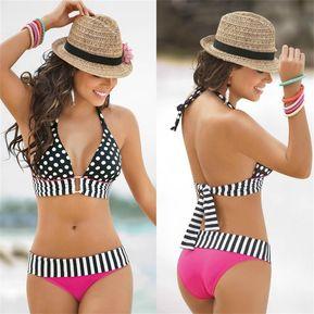 51a84b55f0ee9 EB Vestido De Baño Bikini Estampado Para Mujer E-Ibest-Rojo Y Negro