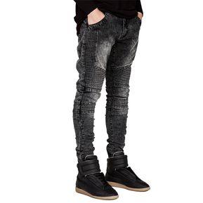 f5d1ed65c5e Jeans pitillo ajustados para hombres Hiphop Skinny Jeans para hombre-Gris