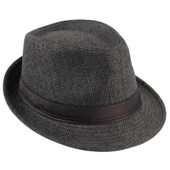 53f9c2bf6717a Unisex Fedora Sombrero Trilby Cap De Paja Estilo Panamá Condensable Viajar Sombrero  Para El Sol Negro
