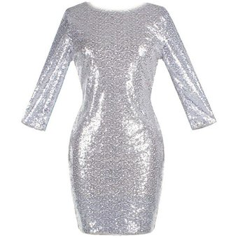 e3f2d072 Vestido de Coctel E-Thinker con lentejuelas y manga larga para mujer - Plata