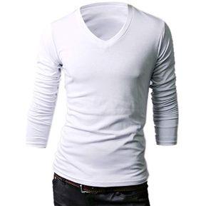 506cfb0df848a Camisa Manga Larga Cuello V Yucheer para Hombre-Blanco