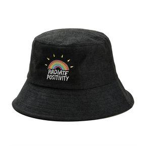ea1cddff323c8 ZAFUL-Sombrero de pescador de pana bordado arco iris-Negro