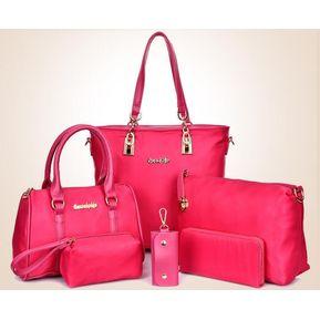 Conjunto De Bolsas Carteras Genérico Mujer Rosa 6bd058a62451