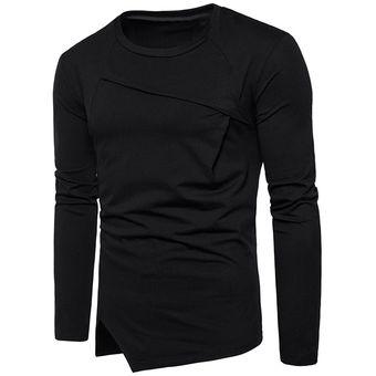 5e3537ff20 Compra Camiseta asimétrica de manga larga con dobladillo (Negro ...