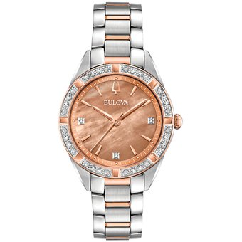 Reloj 98r264 Bulova Sutton Square Time Diamond 5ARL34j