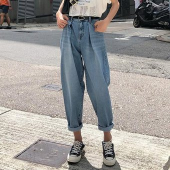 01558bd3e56 Compra Casual Baggy Boyfriend Jeans Mujer Jeans de cintura alta Mamá ...