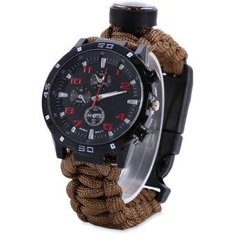 f5ae80ee3cf1 Reloj De La Pulsera De La Supervivencia Al Aire Libre Con El Compás Del  Pedernal Del