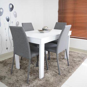Compra comedor napoli 4 puestos blanco sillas tela gris - Sillas comedor grises ...