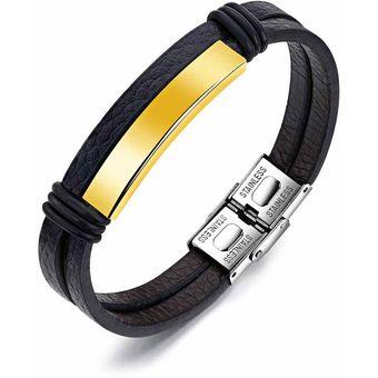 a52788ea4e24 pulsera manilla en cuero placa en color oro dorada en acero inoxidable  pulido doble pulsera de