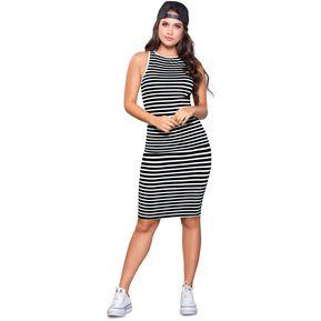 ffcb7cf1e Vestido Juvenil Femenino Marketing Personal 93123 Negro Rayas