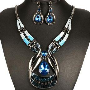 7580c8a20298 Conjunto Collar Y Pendientes De De Gota De Cristal De Arte Moderno Para  Mujer
