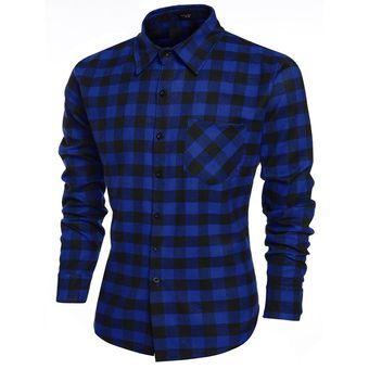 84a79037df COOFANDY Moda Camisa De Cuadros Casual Manga Larga Solapa Modern Casa Para  Hombre-Azul Marino