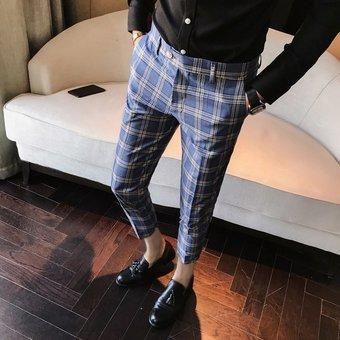 Pantalones De Vestir Para Hombre Pantalones A Cuadros De Estilo Casu Linio Peru Ge582fa09kno5lpe