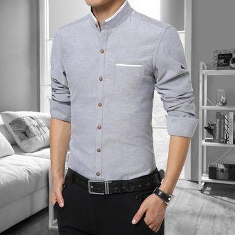 Camisas Hombre De Manga Larga De Negocios De Cuello De Pie De No Plancha  -Gris b76188a94ec31