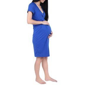 e6e1a4e49 Fashion V-neck Short Sleeve Pregnant Women Dress (Azul)