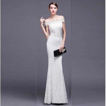 Vestidos elegantes largos de color blanco