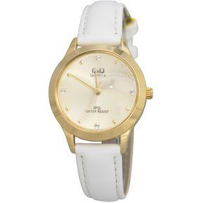 334d013eba4e Reloj Q Q QZ05J100Y Para Dama Cuero Blanco- Dorado
